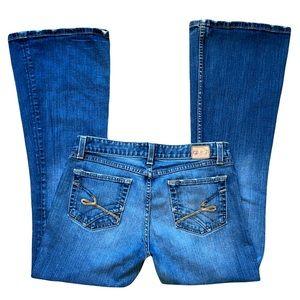 "BKE Boot-Cut Jeans (30) ""Star Stretch"", medium wash, distressed, some stretch"